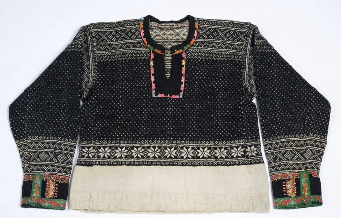 A sweater from Setesdal, Agder, Norway - with a typical local pattern.   Photo: Anne-Lise Reinsfeldt Norsk Folkemuseum - digitaltmuseum NF.1956-0070 - cc by-sa.